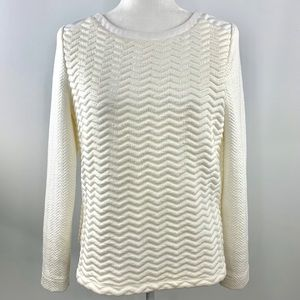 Tart Quilted Faux Leather Long Sleeve Eggshell Top